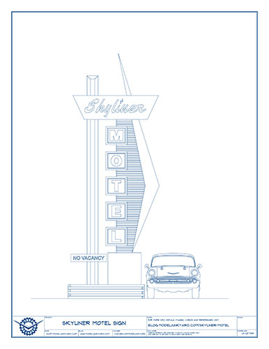 Skyliner Motel Sign Blueprints – Front view
