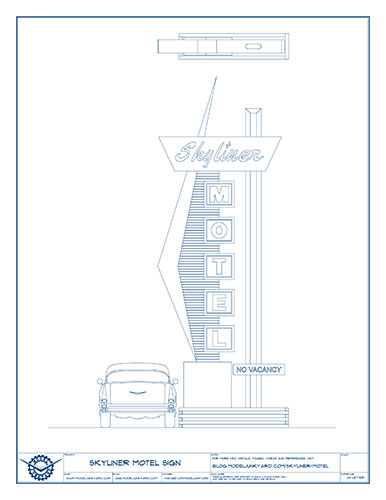 Skyliner Motel Sign Blueprints – Back view