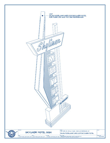 Skyliner Motel Sign Blueprints – 3D