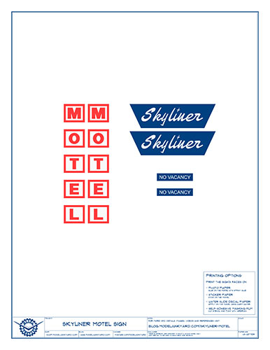 Skyliner Motel Sign Blueprints – Graphics